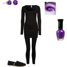 """Minecraft Outfit #2- Enderman"" by yodeyo on Polyvore. Stupid easy Comic Con costume."
