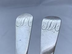 Rare Pair of Bermuda Tablespoons, George HUTCHINGS, circa 1830s. – Silver Spoon Antiques Silver Spoons, Small Island, Makers Mark, Initials, Vintage Items, Pairs, Contemporary, Antiques, Antiquities