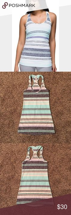 Lululemon cool racer back Mint green, gray and white groovy stripe tank. Excellent condition. lululemon athletica Tops Tank Tops