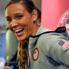 Bobsledder Lolo Jones laughs while answering media questions at the USOC 2013 Team USA Media Summit. #MediaSummit #Bobsledding #TeamUSA