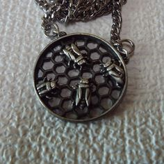 Bees In Honeycomb Pendant Necklace, 1960s (just purchased it!)