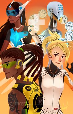 Symmetra, Zenyatta, Lucio, and Mercy from Overwatch! The second in a series of four!