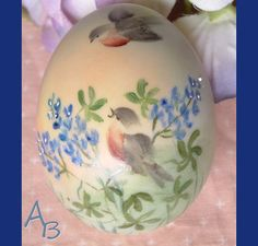Hand Painted Porcelain Egg Springtime Birds by AtticBasement, $17.00