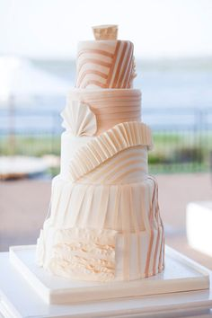 seashell inspired cake by http://www.flowerandflour.com/ Photography by Kellie Kano Studios / kelliekano.com, Event Planning by Stellar Events / stellareventsnc.com/