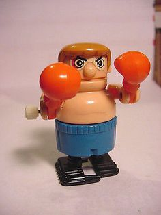 """1980's Boxer w/Blue Trunks 2-1/2"""" White Knob Wind Up Wind-up Works Tomy - http://hobbies-toys.goshoppins.com/electronic-battery-wind-up-toys/1980s-boxer-wblue-trunks-2-12-white-knob-wind-up-wind-up-works-tomy/"""
