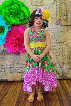 Girls HiLow Maxi Dress with bustle by ISADORAKIDS on Etsy, $78.00