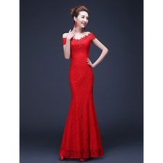 Trumpet/Mermaid Off-the-shoulder Floor-length Lace Evening Dress – CAD $ 67.49