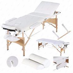 "3 Fold 84""L Portable Massage Table Facial SPA Bed Sheet2 BolsterCradleHanger"