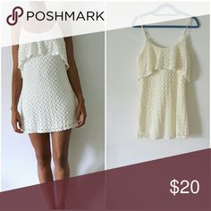 Knitted white spaghetti strap dress Knitted white dress Dresses Mini