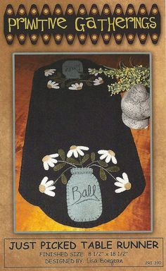 Primitive Folk Art Wool Applique Pattern JUST by PrimFolkArtShop, $7.75