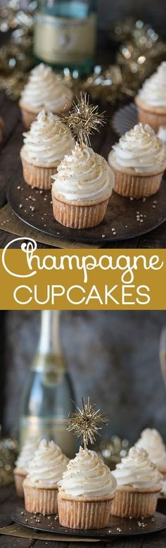This easy champagne cupcake recipe with champagne frosting is a New Year's Eve dessert you won't want to miss! : This easy champagne cupcake recipe with champagne frosting is a New Year's Eve dessert you won't want to miss! Cupcake Recipes, Baking Recipes, Cupcake Cakes, Dessert Recipes, Dessert Ideas, Free Recipes, Cupcake Frosting, Buttercream Frosting, Cupcake Toppers