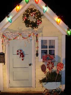 Christmas decor, don't forget the kids playhouse.