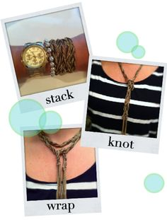 Many ways to wear the Adrienne Mixed Chain Necklace by Stella & Dot. Photo courtesy of The Doctor's Closet.