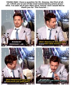 "Robert Downey Jr. gets sassed by Don Cheadle at the ""Iron Man 3"" press conference in London (and responds to a fan...)"