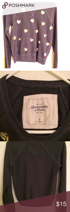 Abercrombie and Fitch sweater Gold and Silver Hearts. Dark Grey. Size XS. Abercrombie & Fitch Jackets & Coats