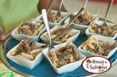 Penne com funghi e filezinho em mini porção