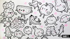 Kawaii Fruits and Vegetables ♥ 20 little Drawings for your doodles ♥ Eas...