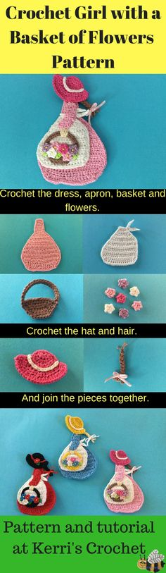 Get the free crochet pattern for this girl with a basket of flowers appliqué at Kerri's Crochet.
