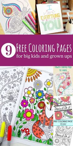 9 free coloring pages for big kids and grown ups