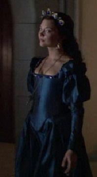 Anne Boleyn dark blue dress