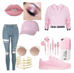 """Pretty in Pink"" by littlelanybunny on Polyvore featuring Local Heroes, Topshop, adidas Originals, Lime Crime, BauXo, Too Faced Cosmetics, Valfré and MANGO"