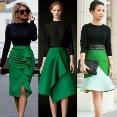 Green skirts.