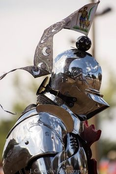 A side view of Toby Capwell's very shiny armet. Notice the reflections? You can also see a maker's mark on his pauldron(shoulder armour) (photo by J. Camacho Photography) The Jousting Life