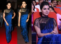 At the audio launch of her next movie, Samantha went the sari route opting for a… Saree Styles, Blouse Styles, Saree Jackets, Desi Wedding Dresses, Baby Frocks Designs, Sari Blouse Designs, Frock Design, Girls Blouse, Indian Designer Wear