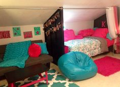 Turn an attic room into a cool bedroom for a pre-teen girl!