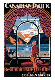 Vintage poster looking out a window of Chateau Lake Louise.