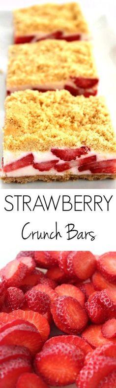 Strawberry Crunch Bars Recipe :: DELICIOUS dessert