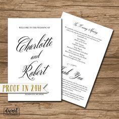 Wedding Program, Folded Ceremony Program, Booklet Style, Order of Events - PRINTABLE files - elegant wedding, classic wedding - Charlotte by DIVart on Etsy