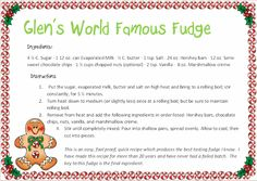 Homefront Team: Christmas on the Homefront - Glen's World Famous Fudge
