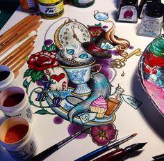 Love this art piece! #disneyart #tattooinspiration #aliceinwonderland #timburton