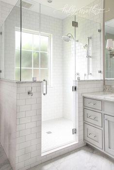 window in shower, half wall, frameless shower door. Half Wall Shower, Master Bathroom Shower, Window In Shower, Upstairs Bathrooms, Small Bathroom, Window Wall, Bathroom Windows In Shower, Gray Bathroom Walls, Small Master Bath