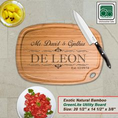 Personalized Extra Large Bamboo Cutting Board - Design 12