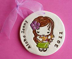 Personalized Little Hawaiian Girl with Ukulele Ornament - Custom Made to Order on Etsy by Sunshine Ceramics