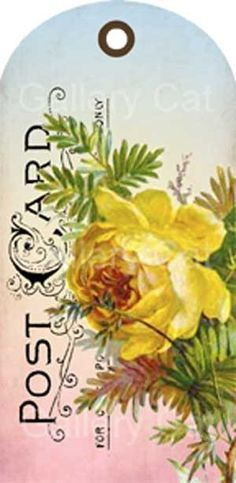 Victorian Rose Postcard Hang Tags Digital Collage by GalleryCat