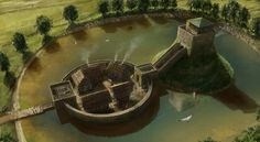 Castle Overview by *J-Humphries on deviantART castle itself is small, balcony, on a manmade hill in a man made lake connected to another manmade island, what is in square buildings above and below?  houses by castle, curved path to dock with boat, upper level around circle. 4