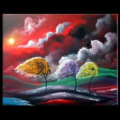 ORIGINAL  HURRICANE Large lollipop tree painting 24 in by mattsart, $299.00