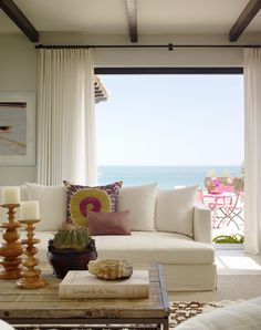 Room with a view. Design by Kara Mann // suzani, Mexican design, White sofa