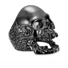 Vintage Punk Walking Evil Skull Biker Stainless Steel Ring Black (145 ARS) ❤ liked on Polyvore featuring jewelry, rings, vintage jewellery, stainless steel skull jewelry, skull jewellery, stainless steel jewellery and skull head ring