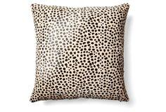 Cheetah Hide Pillow, Beige