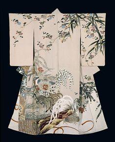 "1954 Ueno Tameji-Yuzen dyeing, ceremonial kimono of hitokoshi silk crepe -""Delight""- from Tokyo National Museum Collection ~AmyLH~"