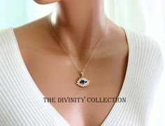Evil Eye Necklace Women Rose Gold Filled by divinitycollection