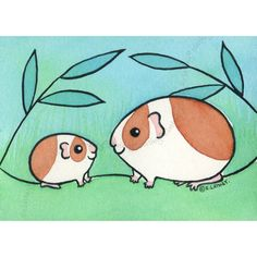 Original Pets ACEO Watercolor | Mama with Baby Guinea-Pig | Dutch Brown White | eBay
