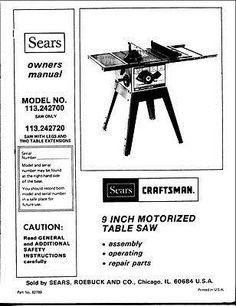 Manuals and Guides 171208: 1983 Craftsman 32765 Pin Router