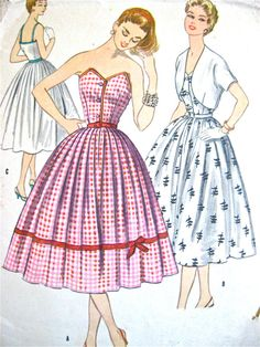 Vintage 1950s dress sewing pattern by McCalls.  Bust by Fancywork, $43.00