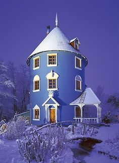 blue house, Moominworld, Finland…