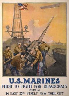 Buyenlarge Marines load and fire a deck gun of a naval warship on this WWI recruitment poster Wilhelm Ii, Kaiser Wilhelm, Us Marines, Usmc Recruiting, Once A Marine, Marine Colors, Ww2 Posters, Us Marine Corps, Marine Life